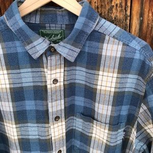 Woolrich Blue Plaid Flannel Button Up Size Large